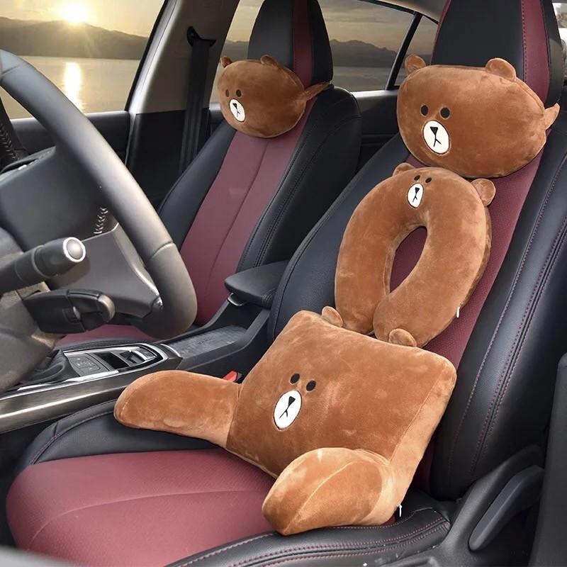 熊大汽車椅套/汽車靠墊三件組
