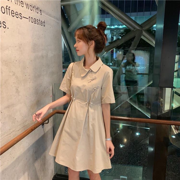 夏天 新款 女 裙子 韓版 洋裝 收腰顯瘦款 杏色