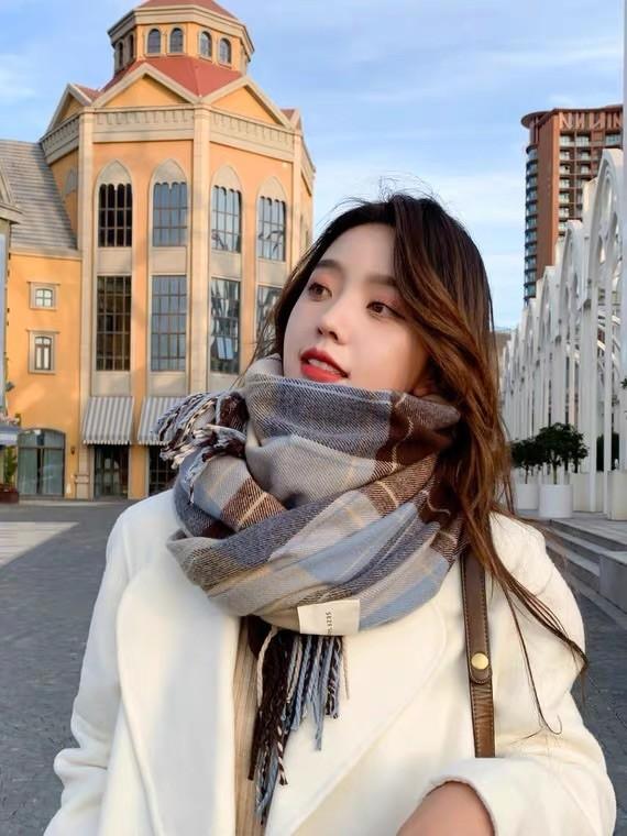 圍巾 冬季 韓版 百搭英倫 經典格子 保暖 披肩