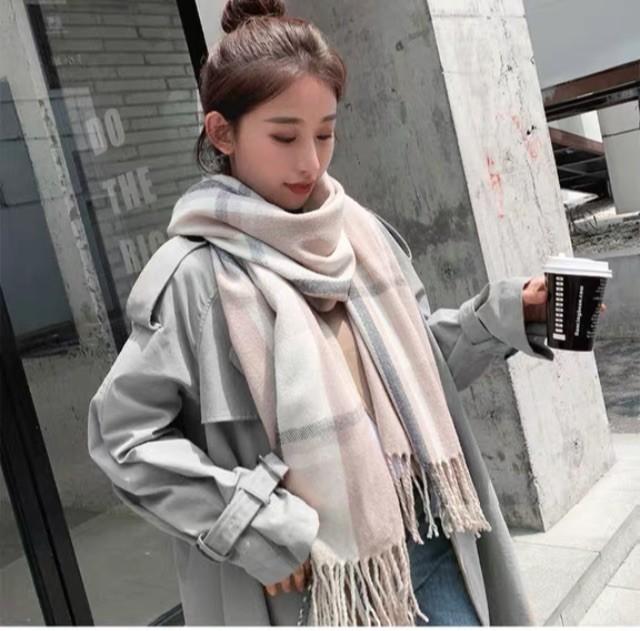 韓版 保暖 格子 圍巾 秋冬 學生 百搭披肩 可愛 [奶茶色格子加厚]