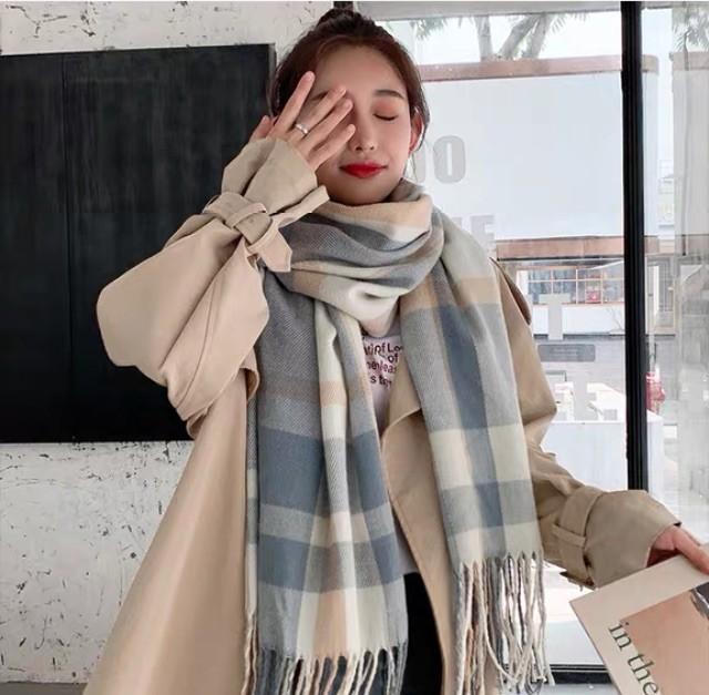 韓版 保暖 格子 圍巾 秋冬 學生 百搭披肩 可愛 [日系藍格子加厚]