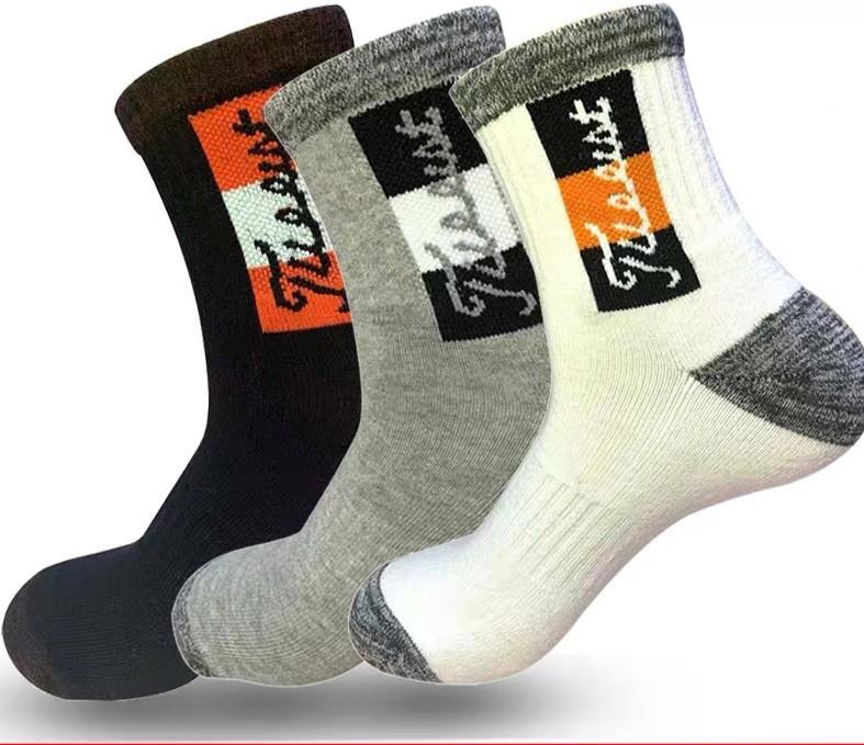 高爾夫 襪子 男士 毛巾底 吸汗 防臭 運動襪 中長筒 3雙 高爾夫球襪 純棉