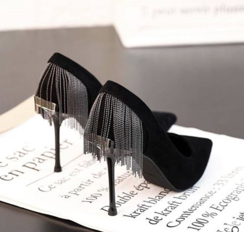 細跟 流蘇 黑色 高跟鞋 性感 OL 服飾 配件 鞋