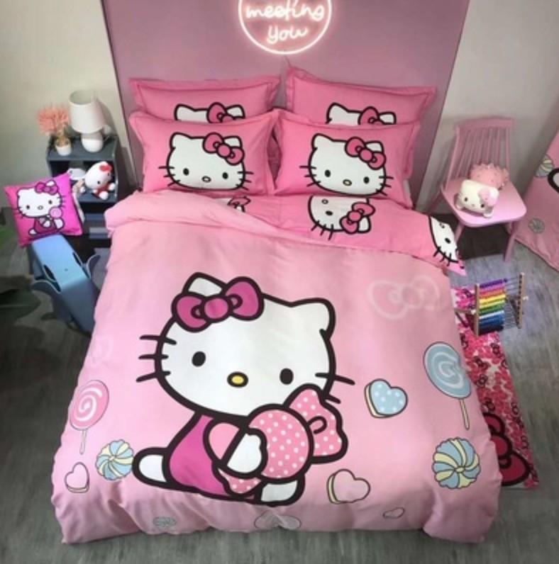Hello Kitty KT 時尚 可愛 床單組 3件組 床單 枕頭 被套 純棉 1.2米床 全棉 磨毛 加厚 保暖款 床包 床單 床組 凱蒂貓全棉磨毛床單四件套兒童卡通kitty純棉男女孩被套床上用品