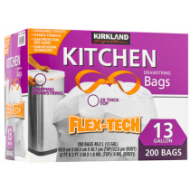 Kirkland Signature 科克蘭 拉繩式垃圾袋 49.2公升(60.9 x 68.5cm) 200入 清潔 日用 寵物 家用 聚會 辦公 廚房 露營