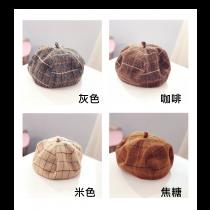 貝雷帽 秋冬英 倫畫家帽 休閒 百搭 格子 報童帽 韓版 日系 復古 八角帽 時尚 流行