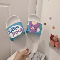 拖鞋 女夏 室内 居家用 防滑 軟底 浴室 洗澡 ins 少女心 可愛 涼拖鞋  [白藍]