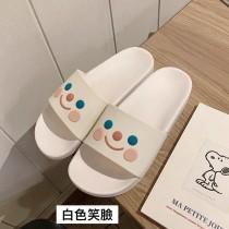 拖鞋 女夏 室内 居家用 防滑 軟底 浴室 洗澡 ins 少女心 可愛 涼拖鞋 [白色笑臉]