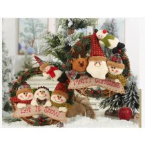聖誕節裝飾用品 家居掛飾 雪人麋鹿藤圈花圈 [全雪人款]