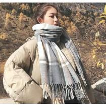韓版 保暖 格子 圍巾 秋冬 學生 百搭披肩 可愛 [灰色格子加厚]