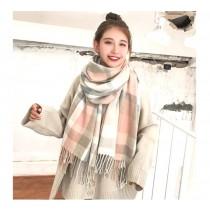 韓版 保暖 格子 圍巾 秋冬 學生 百搭披肩 可愛 [粉色格子加厚]
