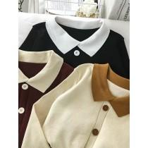 拼色毛衣 女 春秋季 長袖 打底衫 套頭上衣