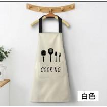 圍裙 家用 廚房做飯 圍腰 防水防油  男女皆適合 廚房圍裙 白色黑字