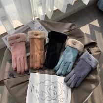手套 秋冬 女麂皮加绒 加厚 保暖手套 防風防寒 騎車滑雪