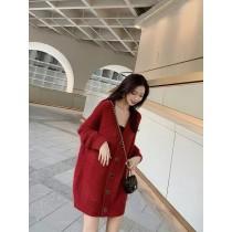 針織 上衣 寬鬆外穿 慵懶風 中長款 红色毛衣 外套 女秋冬 [春節紅][神秘黑]