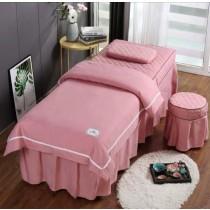 [床罩四腳加購鬆緊帶] 床罩加車鬆緊帶款 美容院 床罩四件組 [床罩一件 被套一件 椅子套一件 枕套一件] 顏色任選 [粉 紫 灰] 床包 美容床 SPA 床包組 美容床罩 法蘭絨 床包 混棉 質感好