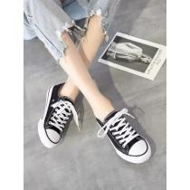 韓版 帆布鞋 黑色 百搭 不磨腳 鞋 板鞋 夏天 學生 四季皆可穿