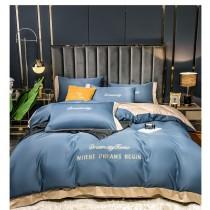 滑絲四件組 被套1床單1枕套2 歐式宮廷風 床包組 冬被 簡單大方質感爆表 法蘭絨 床包 棉被 絲滑款 兩種顏色 灰  藍