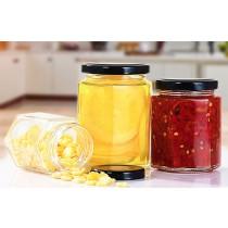 一組14個  小號 密封罐 玻璃空罐 純手工製作 空罐 空玻璃罐 辣椒醬罐 六角形 含收縮膜 含墊片