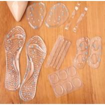 防磨腳 墊片 腳墊 鞋墊 透明 矽膠 舒適 高跟鞋伴侶6件套防滑鞋墊矽膠前掌墊防磨腳調鞋碼後跟貼女士