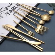 含著金湯匙出生 金色餐具 四件組 網紅西式ins西餐餐具套裝304不銹鋼牛排刀叉家用甜品勺水果月餅叉
