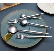 銀湯匙 四件組 網紅西式ins西餐餐具套裝304不銹鋼牛排刀叉家用甜品勺水果月餅叉