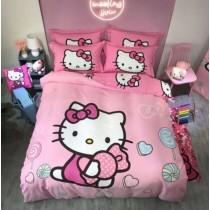 Hello Kitty KT 時尚 可愛 床單組 4件組 床單 枕頭 被套 純棉 床包 2.0米床 全棉 磨毛 加厚 保暖款 床包 床單 床組 凱蒂貓全棉磨毛床單四件套兒童卡通kitty純棉男女孩被套床上用品