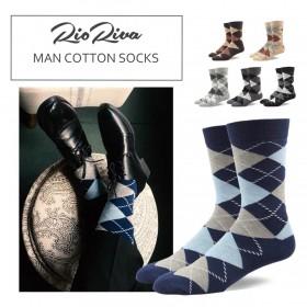 RioRiva 男商務 西裝 中高筒襪 純棉 透氣 紳士 菱形 婚禮 伴郎 配皮鞋  襪子 長筒襪